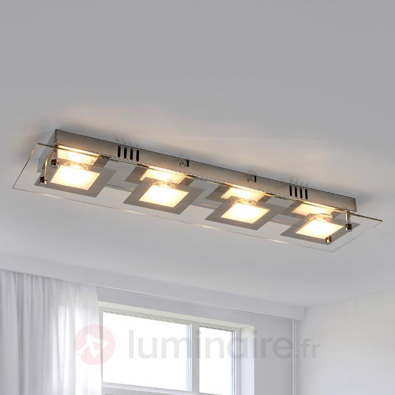 Plafonnier LED allongé Manja chromé - Tous les plafonniers