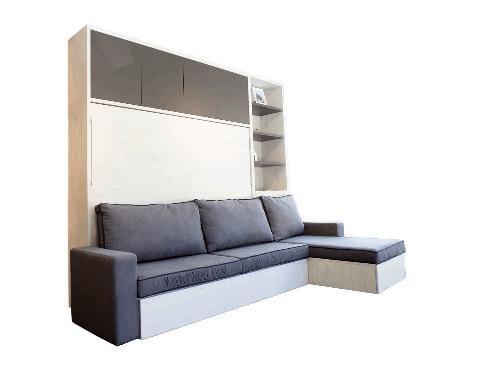 Café - Diseño moderno con sofá y cama abatible detras..