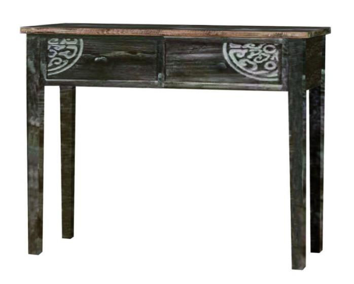 Antique Wood Table Two Carved Drawers -