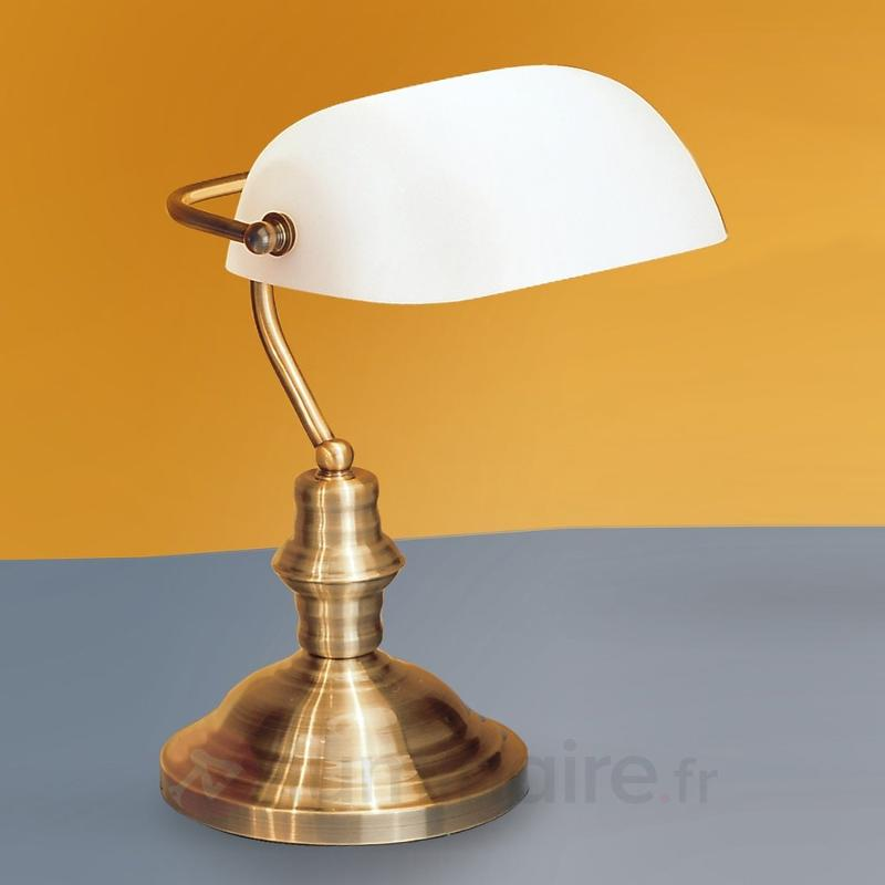 Lampe à poser Onella au style de banque, opale
