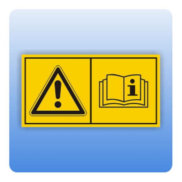 Sicherheitszeichen Betriebsanleitung (ISO 11684) - Größe: 37x70 mm (VE = 5 Stück) 74x140 mm (VE = 1 Stück) 37x7