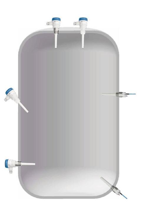 Chave de nível capacitiva Capanivo® CN7100 - Detecção de limite de nível em líquidos, lamas, espumas, interfaces e sólidos.