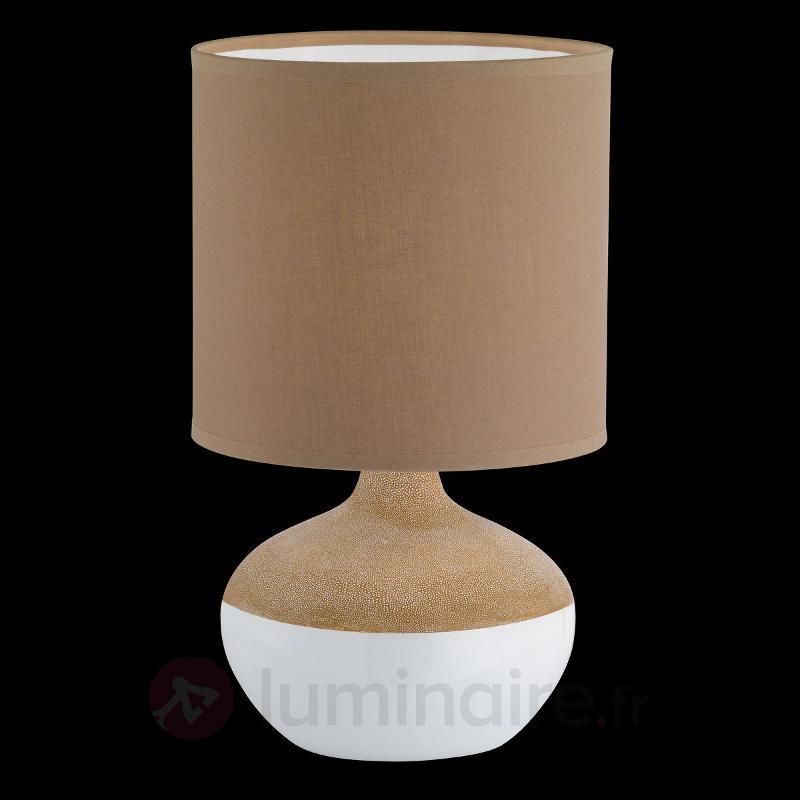 Lampe à poser Norwich, pied céramique brun-blanc - Lampes à poser en tissu