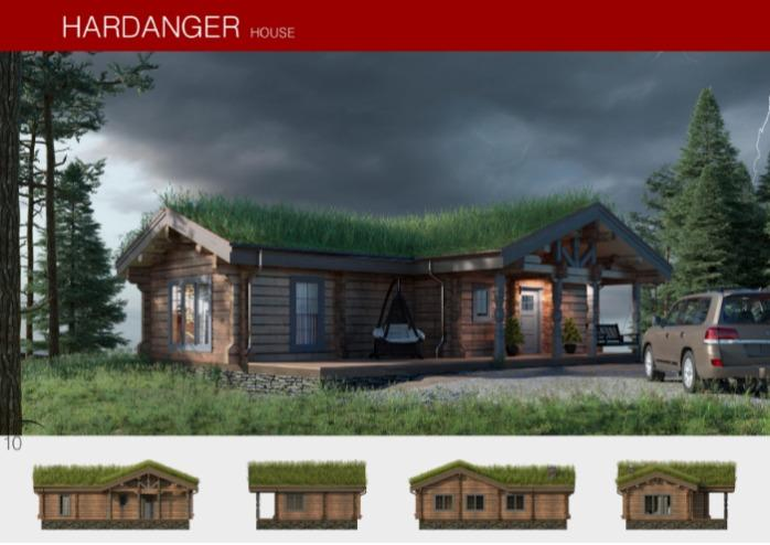 Prefabricated wooden house HARDANGER - Houses produced using Norwegian log processing technology