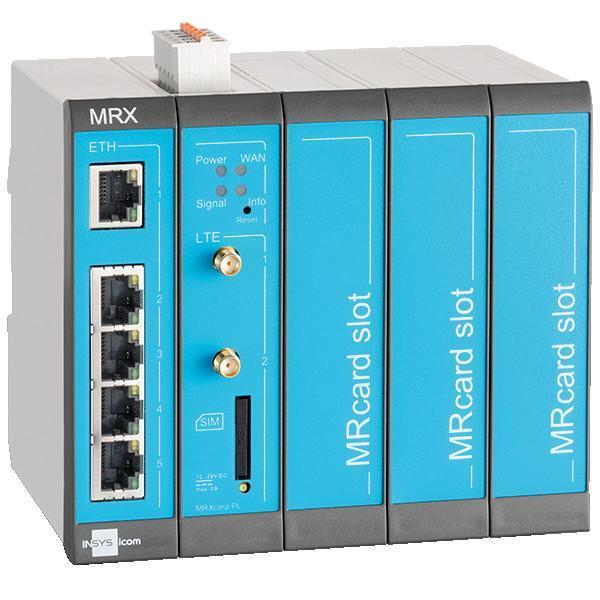 MRX5 LTE Modular 4G/LTE-Router, Switch, dig.IN, LXC - MRX5 LTE Router, 1-5 IP Network LTE/LAN/WAN, VLAN, VPN, Firewall, NAT, DHCP, DNS