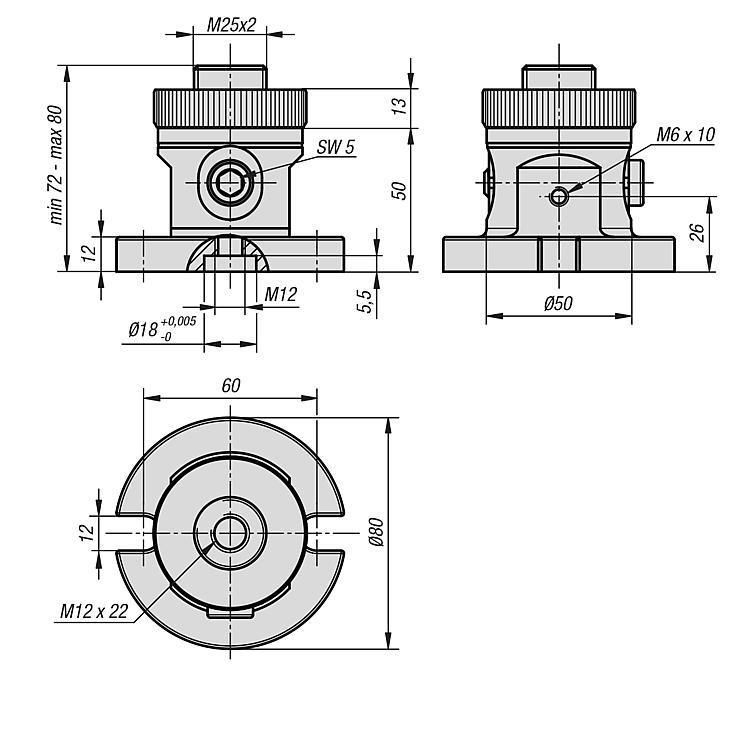 Module de base 5 axes UNI lock, réglable, pas de 50 mm - UNI lock pas de 50 mm