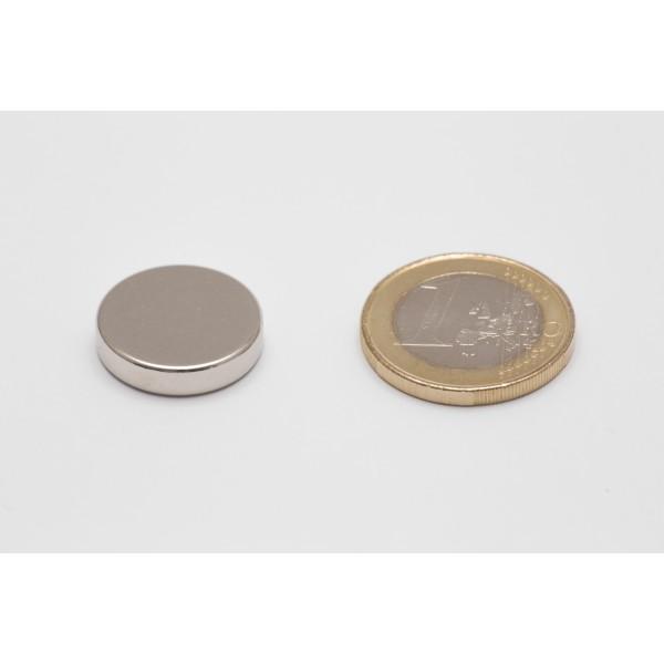 Neodymium disc magnet 18x4mm, N45, Ni-Cu-Ni, Nickel coated - Disc
