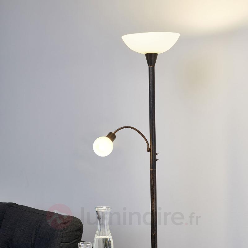 Lampadaire LED Elaina couleur rouille avec liseuse - Lampadaires LED à éclairage indirect