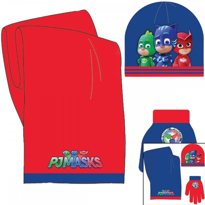 3x Echarpes et bonnets et gants PJ MASKS SMUG - Bonnet Gant Echarpe