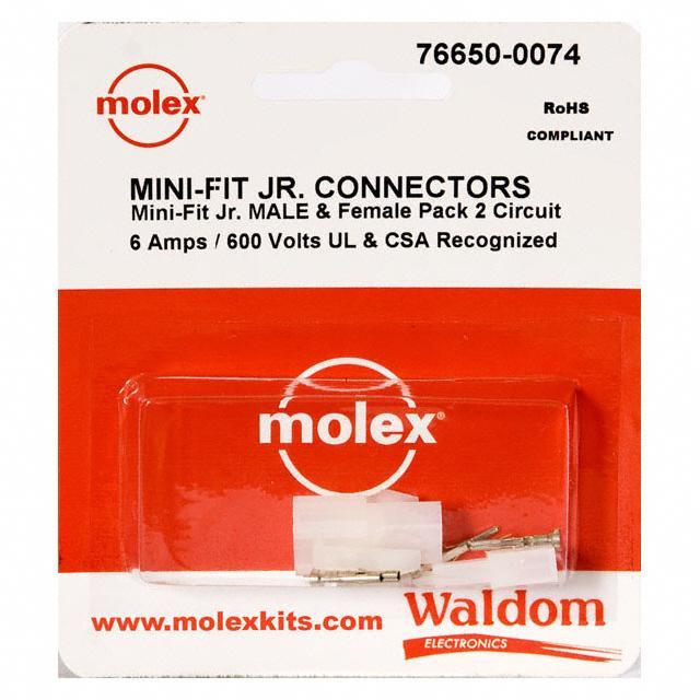 KIT CONN MINI-FIT JR 2 CIRCUITS - Molex Connector Corporation 76650-0074