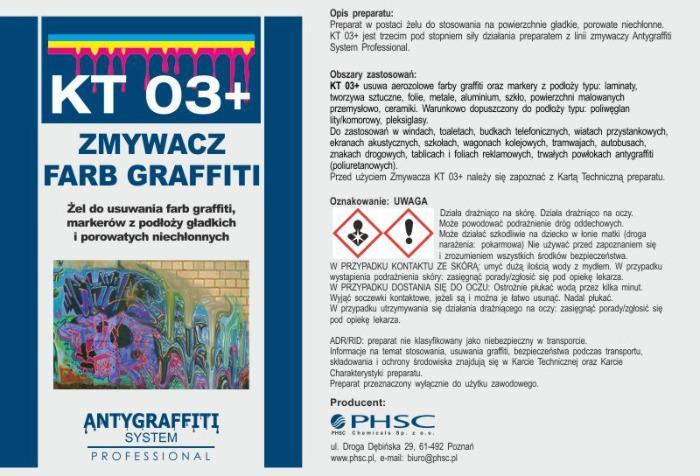KT 03+ - Zmywacz farb graffiti -