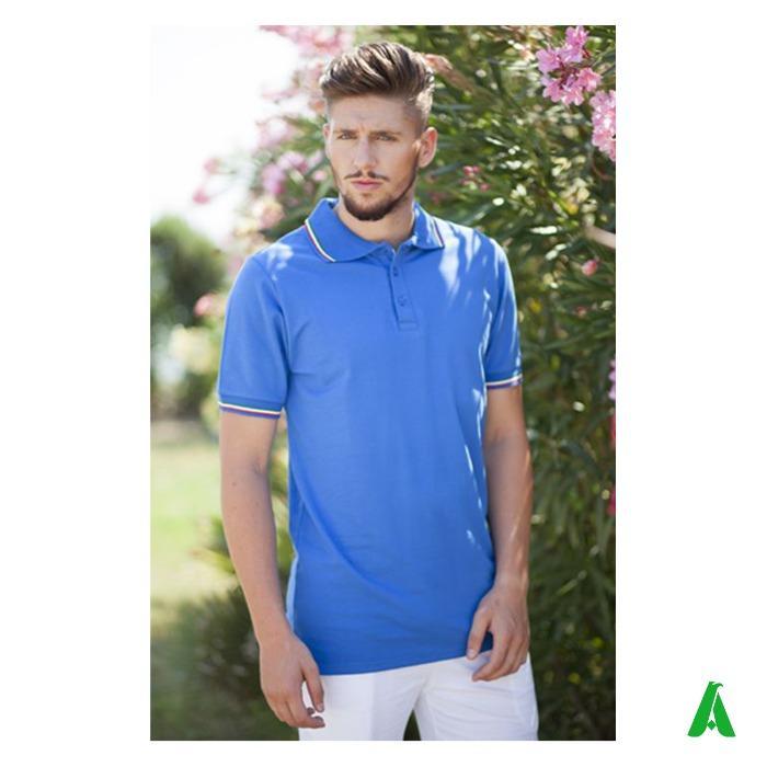 Polo Made in Italy per uomo, con costina tricolore - Polo piquet di qualita', Made in Italy, per uomo, costina tricolore e 3 bottoni