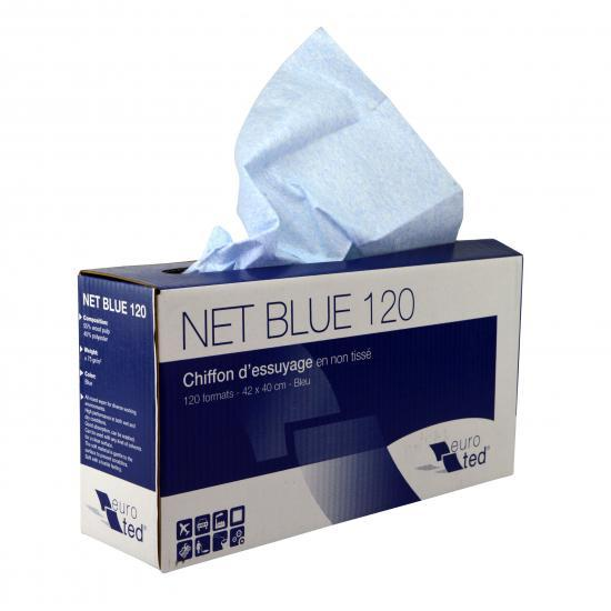 Chiffon non tissé bleu ultra résistant boîte de 120... - Essuyage