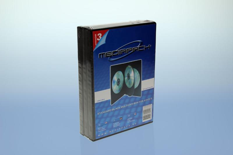 DVD Box 4-fach mit Tray - 14mm - 3er Pack - schwarz - Retailverpackungen & Zubehör