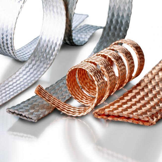 Flexible Flachlitze / Gewebeband - Gewebeband aus Kupfer oder Legierungen für Erdung und elektrotechn. Komponenten
