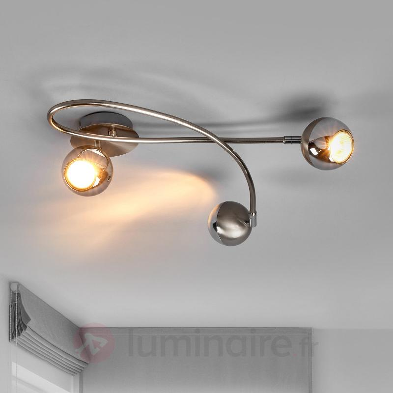 Plafonnier LED Arvin couleur nickel, 3 lampes - Plafonniers LED