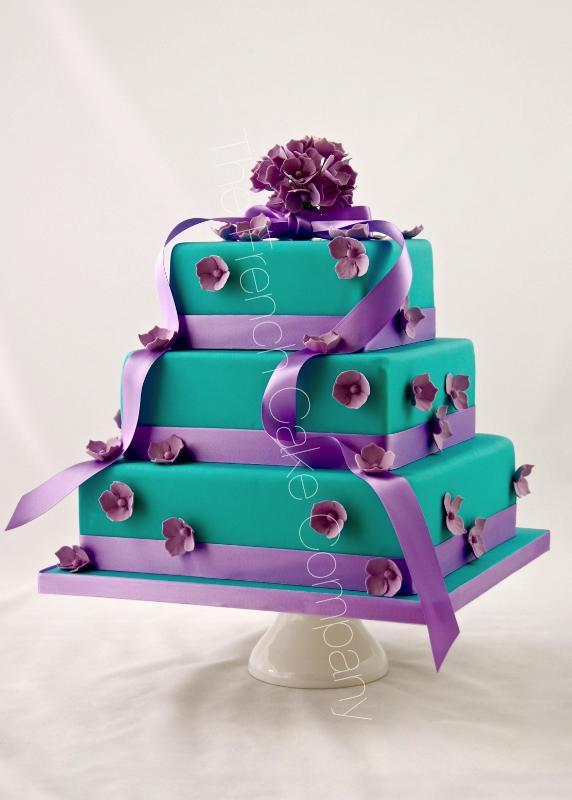 Gâteaux et Pièces Montées sur-mesure - Gâteau turquoise & mauve