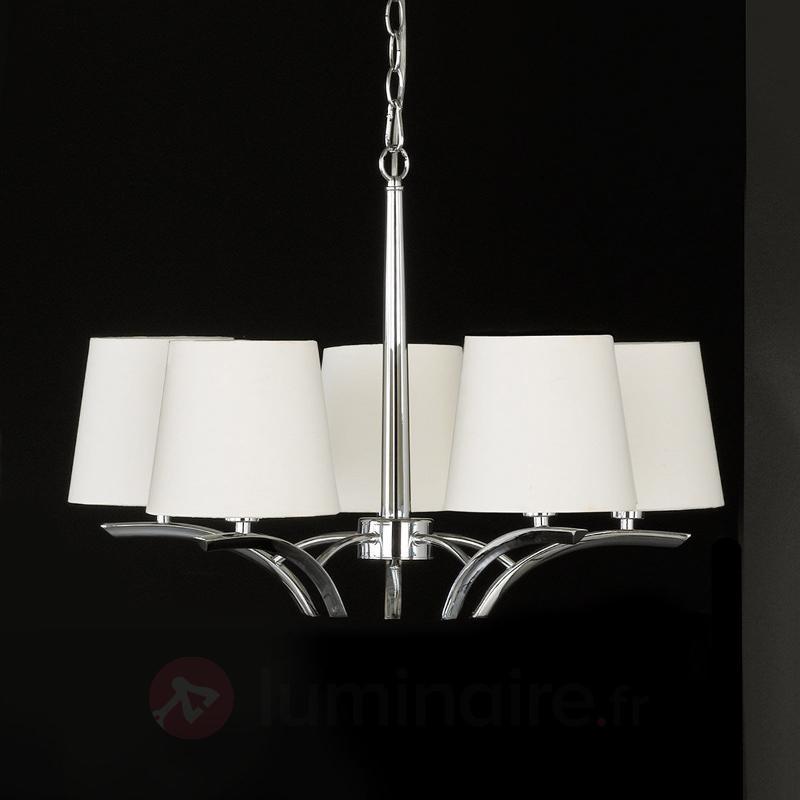 Lustre à cinq lampes Y avec petits abat-jour - Lustres à abat-jour