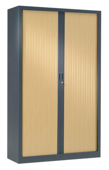 Armoire Haute 1.98 X 1.00 M Rideaux Bois - Équipements De Bureau
