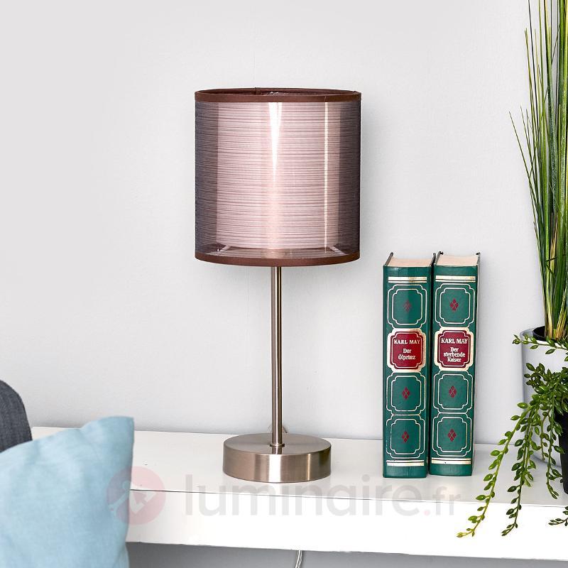 Lampe de chevet Nica avec abat-jour en tissu brun - Lampes à poser en tissu