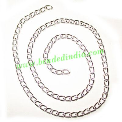 Silver Plated Metal Chain, size: 1x4mm, approx 40.9 meters i - Silver Plated Metal Chain, size: 1x4mm, approx 40.9 meters in a Kg.