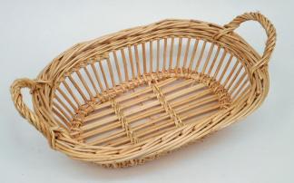 """Corbeille """"Bateau"""" osier blanc & brut  - L.30cm"""