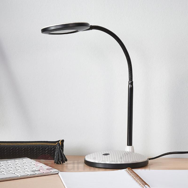 Lampe de bureau LED Ivan en gris clair et noir - Lampes de bureau LED