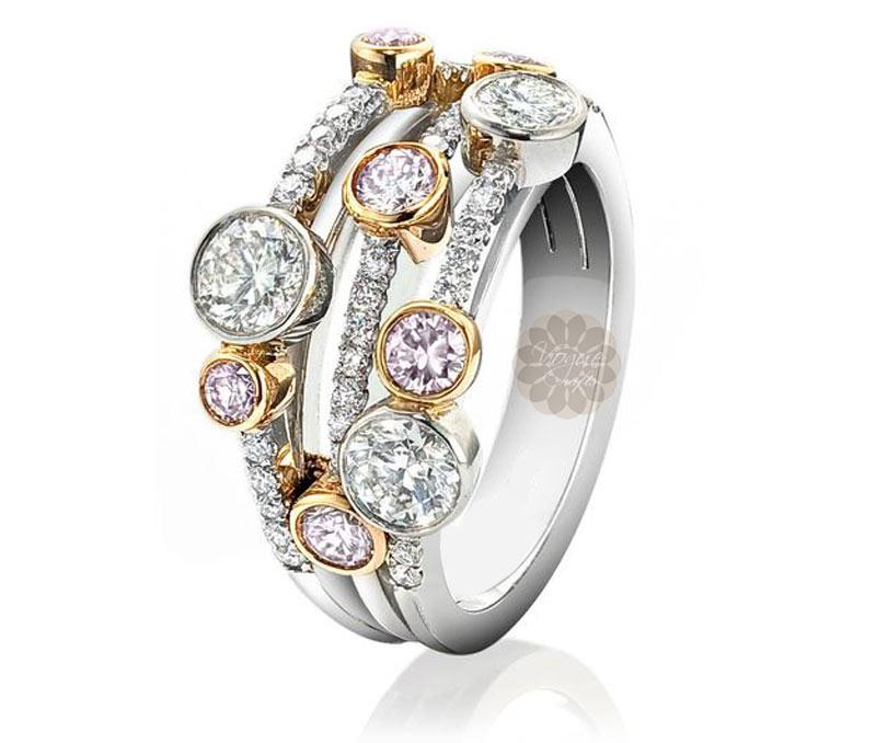 Layered Diamond and Gold Ring -