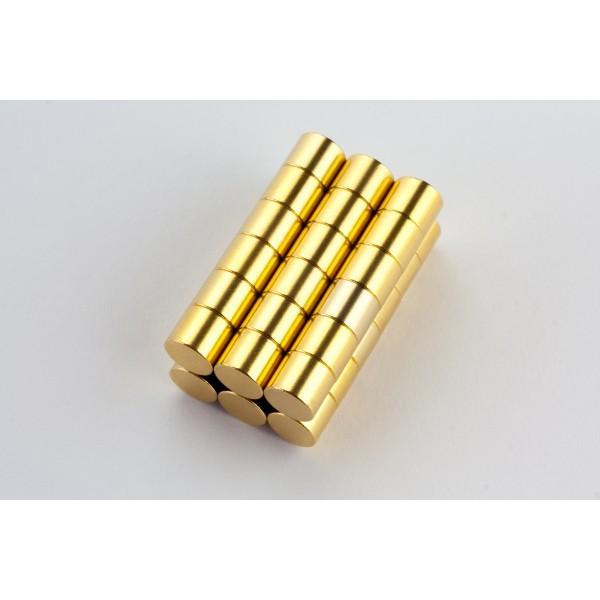 Neodymium disc magnet 6x5mm, N45, Ni-Cu-Ni-Au, Gold plated - Disc
