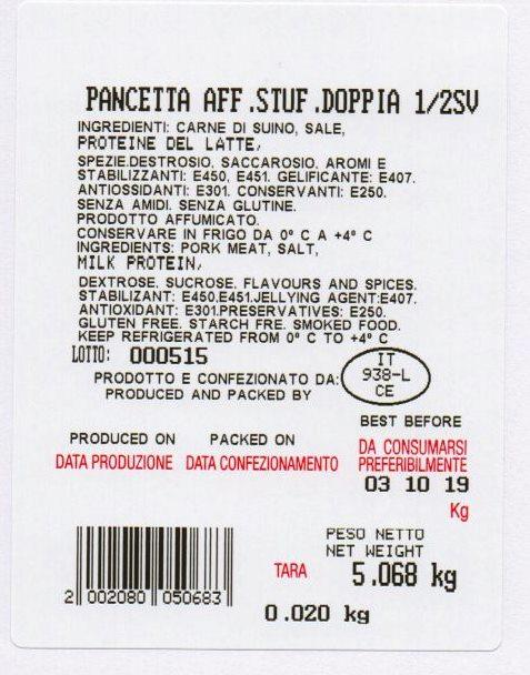Pancetta Affumicata Stufata Doppia 1/2 Sottovuoto - Salumi latticini e uova - Lardo e strutto