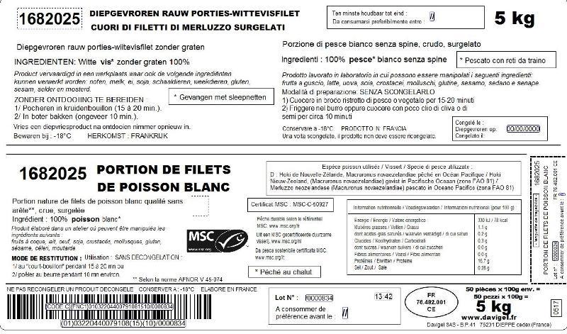 Cuori di Filetto di Nasello MSC Surgelati IQF - Ittico - Filetti