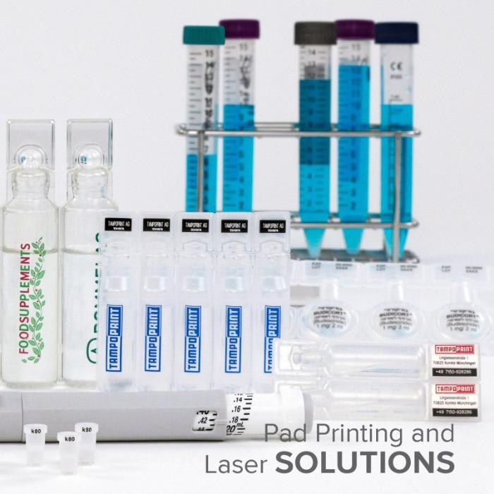 Aplicaciones de industria técnico médica - Aplicaciones de industria técnico médica con tampografía y láser