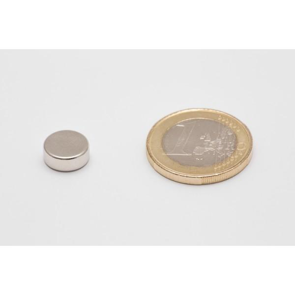 Neodymium disc magnet 10x4mm, N45, Ni-Cu-Ni, Nickel coated - Disc