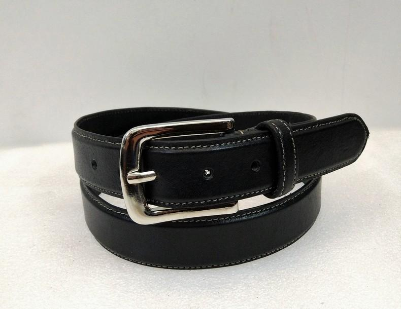Leather Belt 03 - Black Full Grain Formal Men's Leather Belt white stitching