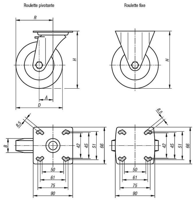 Roulette pivotante ou fixe modèle lourd - Roues et galets