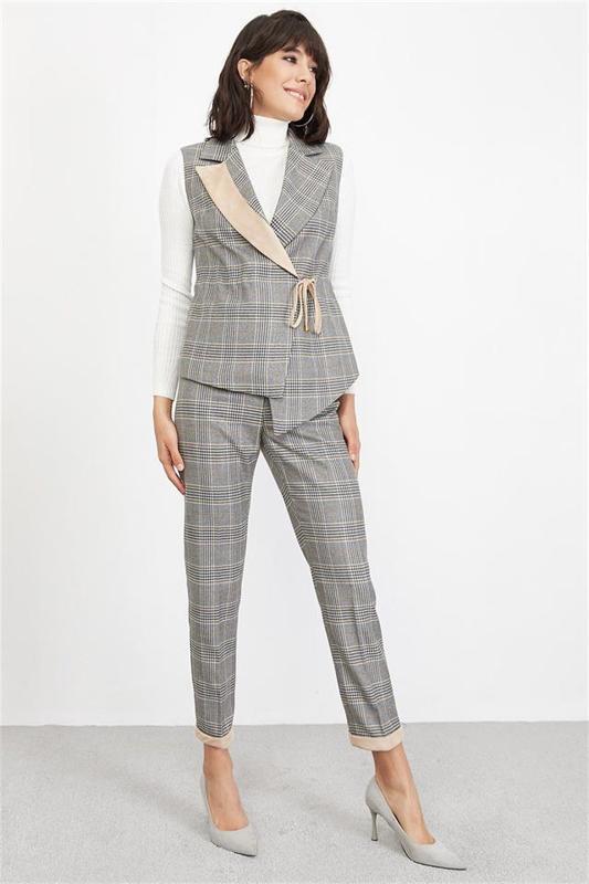 Women's Beige Plaid Vest - Women's Vest