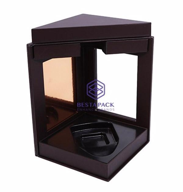 Boîte à vin - fermetures à double rabat magnétique, 3 fenêtres, insert EVA et plateau à vide