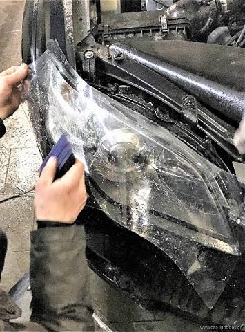 Бронирование автомобильной оптики - Антигравийная защита стекла фары