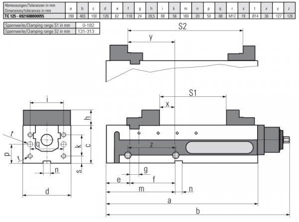 Version TC 125 MECHANISCH - Horizontal & vertikal einsetzbar – somit für vertikale & horizontale Fräscentren