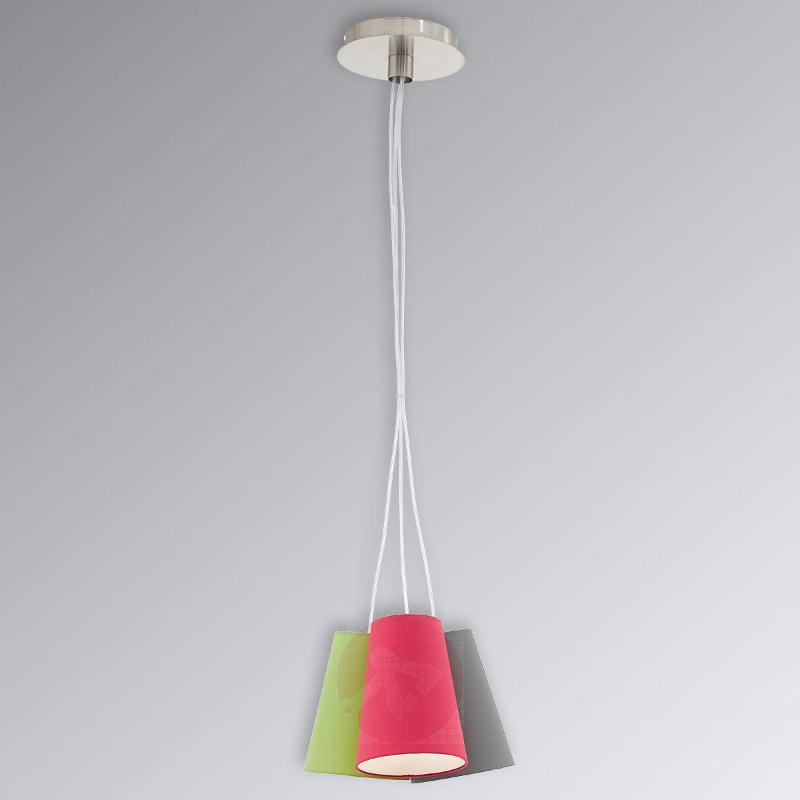 Colourful Nevorres pendant light with fabric shade - Pendant Lighting