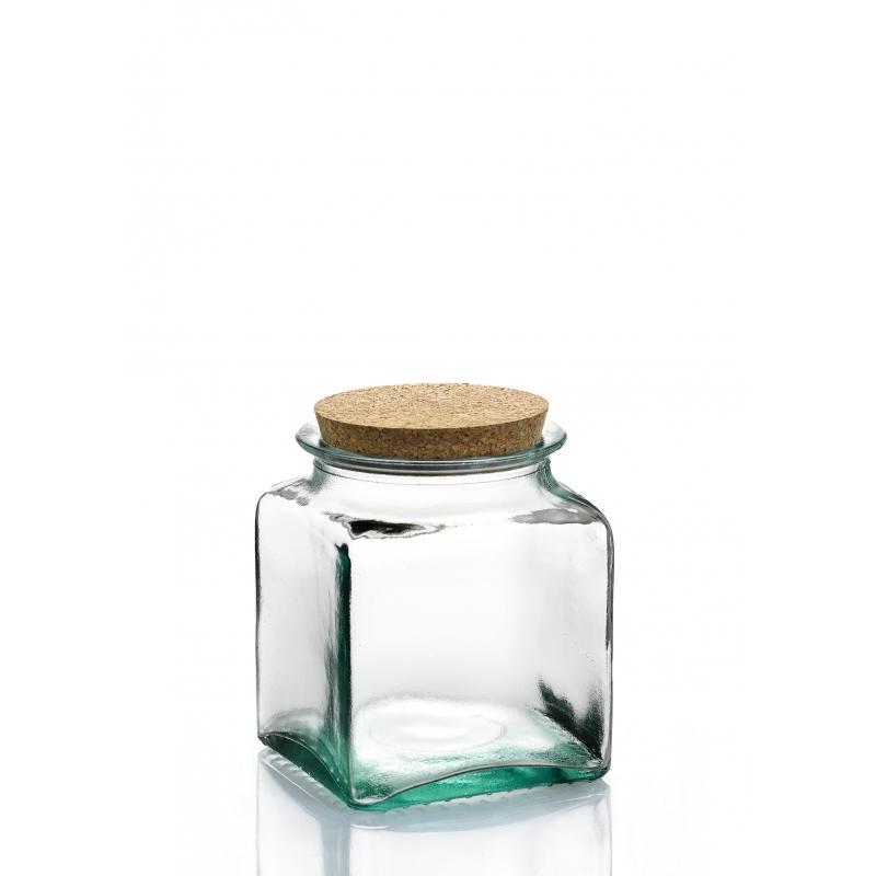 6 bocaux Carrés 500 ml en verre avec bouchon en liège