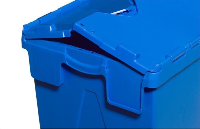 Caixa de plástico com tampas articuladas -