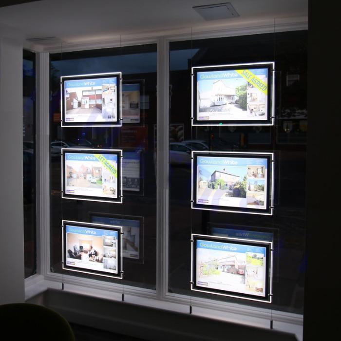 A3 Doppelseitig LED Fenster Display Immobilienmakler - Led-Licht Tasche Fenster Display