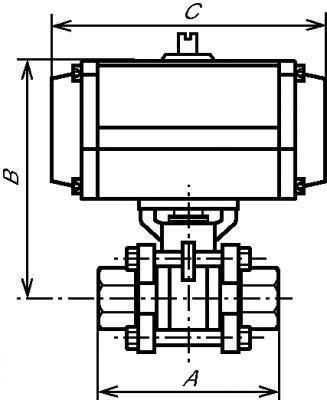 VANNE 3 PIÈCES  - AVEC ACTIONNEUR PNEUMATIQUE SIMPLE EFFET INOX 316 (5827)