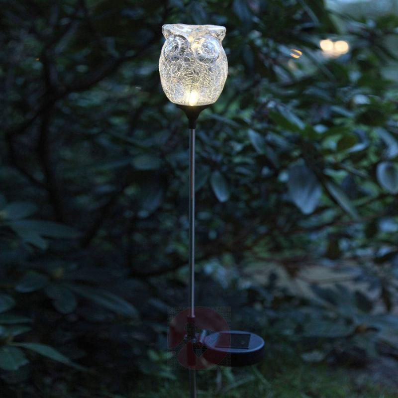 Decorative LED solar light Owl, broken glass look - outdoor-led-lights