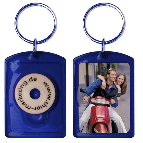 Foto- und Werbeschlüsselanhänger im Paßbildformat - Chip 2 Blau