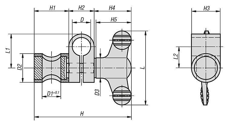 Noix de serrage - Marbres Supports de mesure Articulations