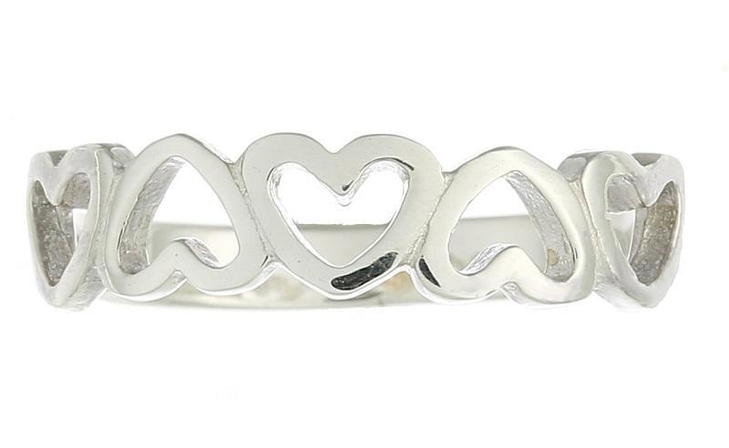 Anel em Prata de Lei 925 Coração Intercambiados - Modelo 22890