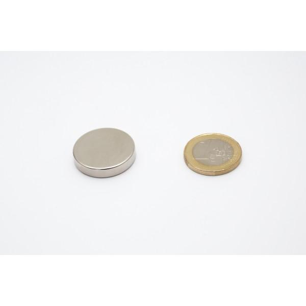 Neodymium disc magnet 25x5mm, N45, Ni-Cu-Ni, Nickel coated - Disc