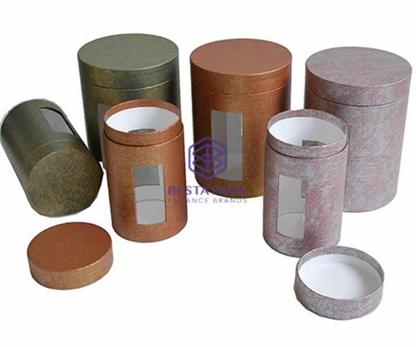 Paper tube with embedded PET window - Paper tube with flat edges, neck and embedded PET window in the base